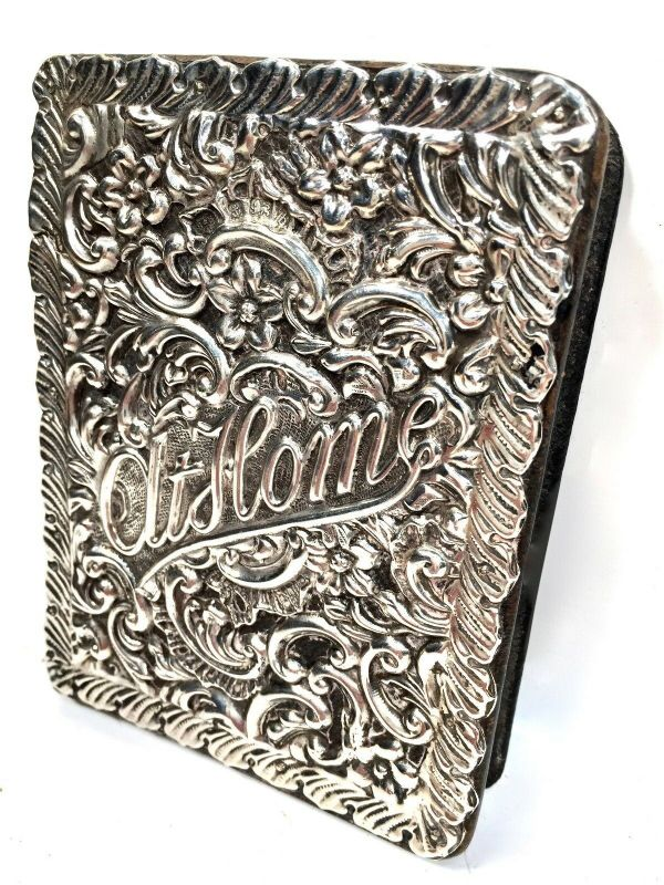 Antique Edwardian 1901 Hallmark Silver Covered Notebook by Rock Bros of London